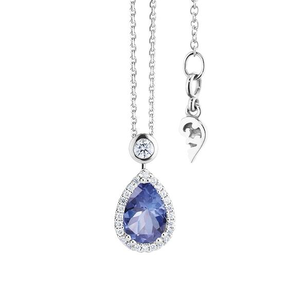 """Collier """"Espressivo"""" 750WG Tansanit Tropfen 9.0 x 6.0 mm ca. 1.20ct, 26 Diamanten Brillant-Schliff 0.20ct TW/si, Länge 45.0 cm Zwischenöse bei 42.0 cm"""