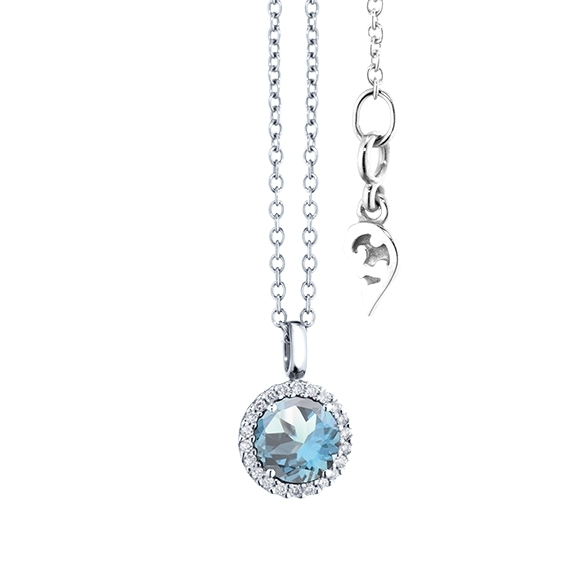 "Anhänger ""Espressivo"" 750WG, Topas sky blue facettiert Ø 6.0 mm, 22 Diamanten Brillant-Schliff 0.06ct TW/si"