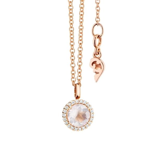 """Anhänger """"Espressivo"""" 750RG Rosenquarz facettiert Ø 6.0 mm, 22 Diamanten Brillant-Schliff 0.06ct TW/si1"""