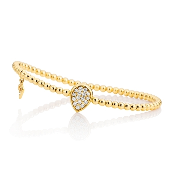 "Armband ""Dolcini Tropfen"" 750GG, 16 Diamanten Brillant-Schliff 0.23ct TW/vs, Innenumfang 17.0 cm"
