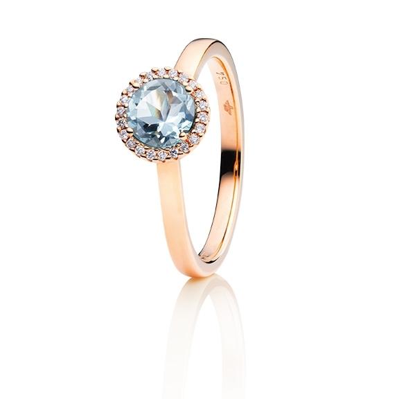 """Ring """"Espressivo"""" 750RG, Aquamarin hell facettiert Ø 6.0 mm ca. 0.73ct, 22 Diamanten Brillant-Schliff 0.06ct TW/si1"""