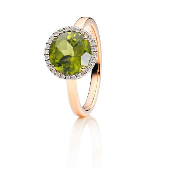 "Ring ""Espressivo"" 750RG, Peridot facettiert Ø 9.0 mm, 28 Diamanten Brillant-Schliff 0.10ct TW/si"