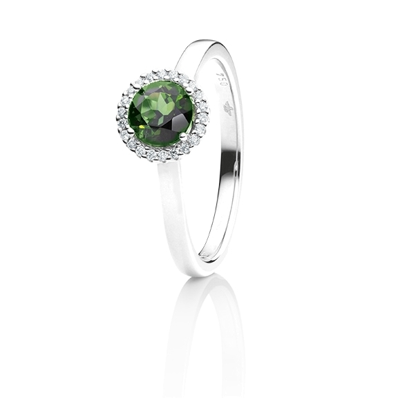 "Ring ""Espressivo"" 750WG, Turmalin grün facettiert Ø 6.0 mm, 22 Diamanten Brillant-Schliff 0.06ct TW/si"