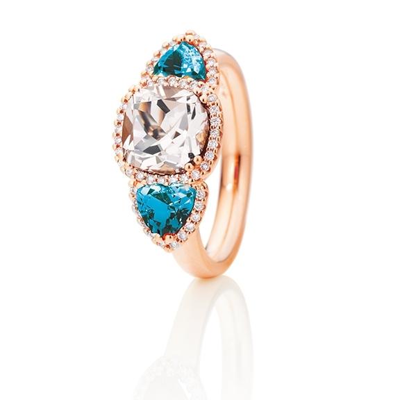 """Ring """"Espressivo"""" 750RG, Morganit antik 8.0 x 8.0 mm ca. 2.15ct, Topas London blue Trillion 5.0 x 5.0 mm ca. 0.90ct, 52 Diamanten Brillant-Schliff 0.21ct TW/si"""