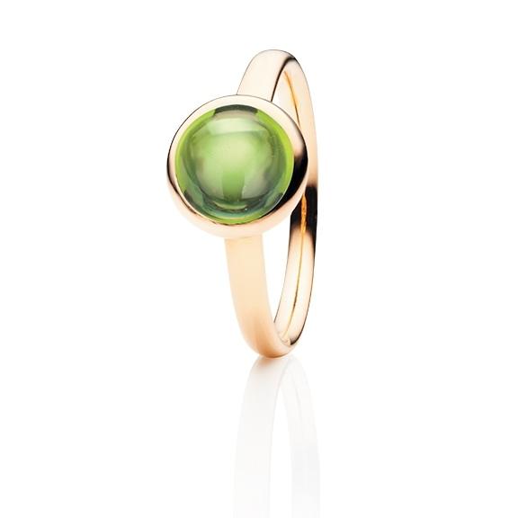 """Ring """"Velluto"""" 750RG Peridot Cabochon Ø 8.0 mm ca. 2.20ct"""