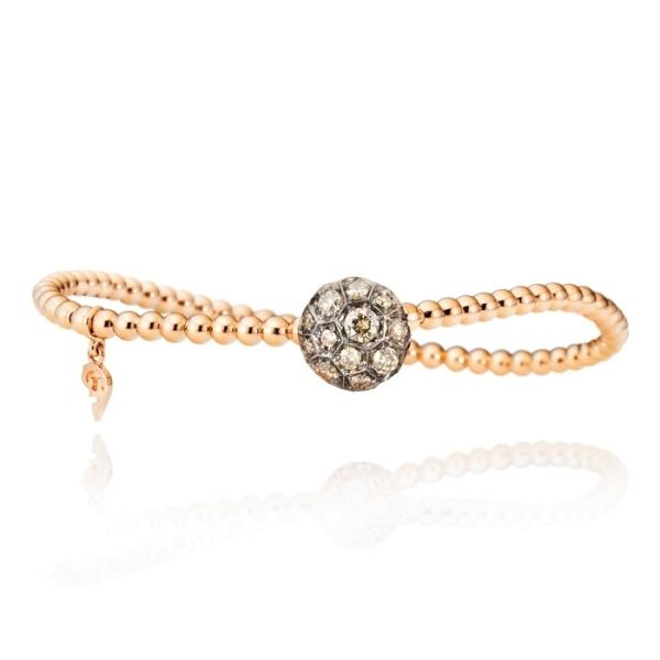 """Armband """"Fiore Magico"""" 750RG, Carreaufassung schwarz rhodiniert, 23 Diamanten Brillant-Schliff 0.87ct natural light brown, Innenumfang 17.0 cm"""