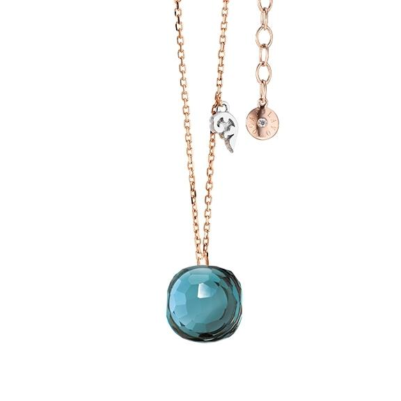 """Collier """"Happy Holi"""" 750RG, Topas London blue Cabochon  9.0 x 9.0 mm facettiert ca. 5.20ct, Länge 45.0 cm, Zwischenöse bei 42.0 cm"""