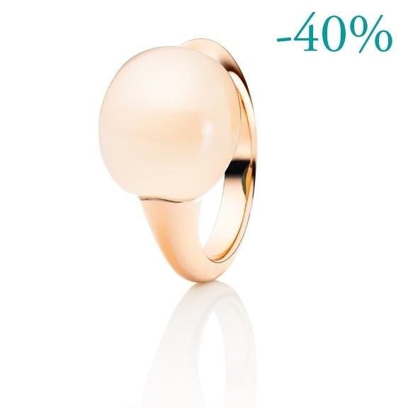 "Ring ""Tramonto"" 750RG, Mondstein champagne Cabochon ca. 12.5ct"