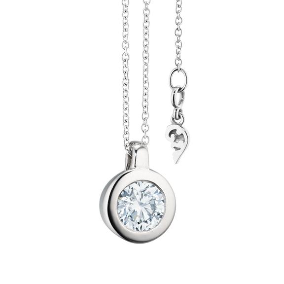 """Collier """"Diamante in Amore"""" 750WG Zargenfassung, Schlaufe, 1 Diamant Brillant-Schliff 0.70ct TW/vs1 GIA Zertifikat, Länge 45.0 cm, Zwischenöse bei 42.0 cm"""