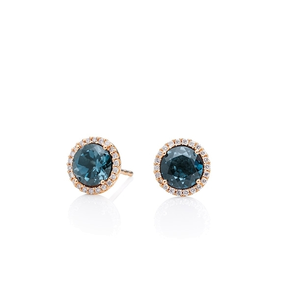 "Ohrstecker ""Espressivo"" 750RG, Topas London blue facettiert Ø 6.0 mm ca. 2.00ct, 44 Diamanten Brillant-Schliff 0.12ct TW/si"