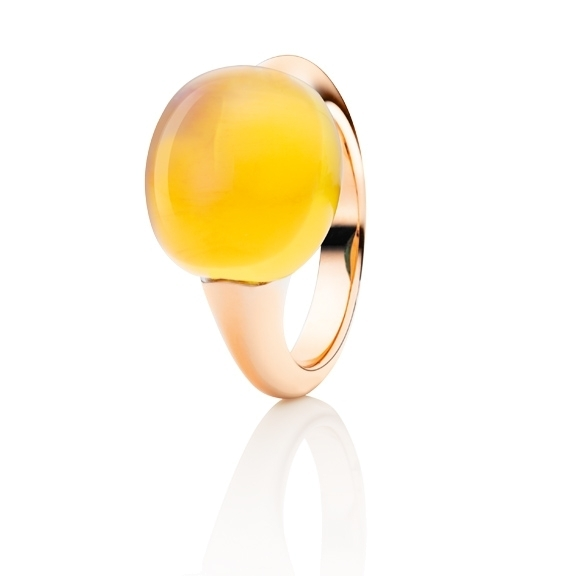 "Ring ""Tramonto"" 750RG, Citrin medium Cabochon ca. 13.0ct"