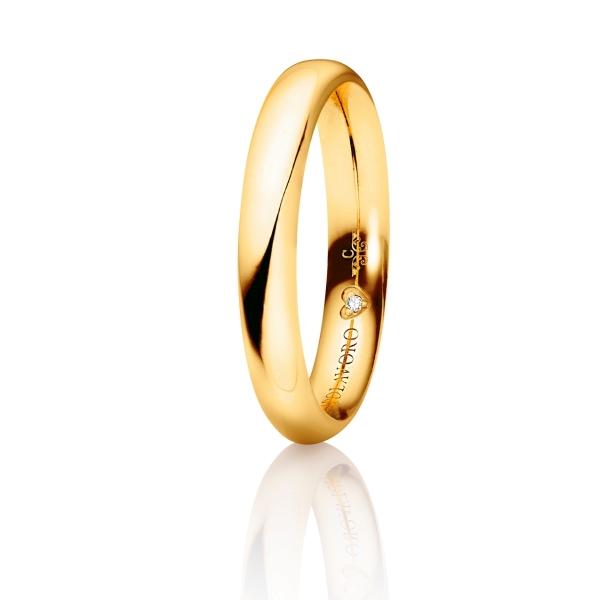 """Trauring """"Diamante in Amore"""" 750GG halbrund und innen bombiert, 1 Diamant Brillant-Schliff 0.005ct TW/vs"""