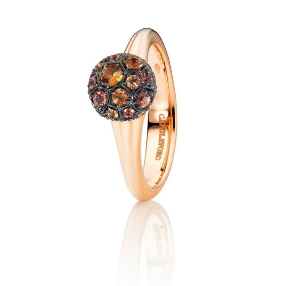 """Ring """"Fiore Magico"""" 750RG Carreaufassung, Saphir orange facettiert ca. 0.70ct"""