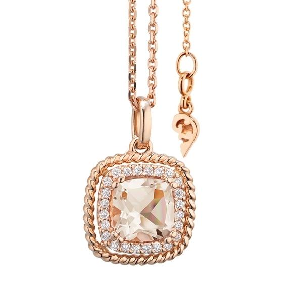 "Anhänger ""Amore mio"" 750RG, Morganit antik 6.0 x 6.0 mm ca. 0.90ct, 24 Diamanten Brillant-Schliff 0.10ct TW/si"