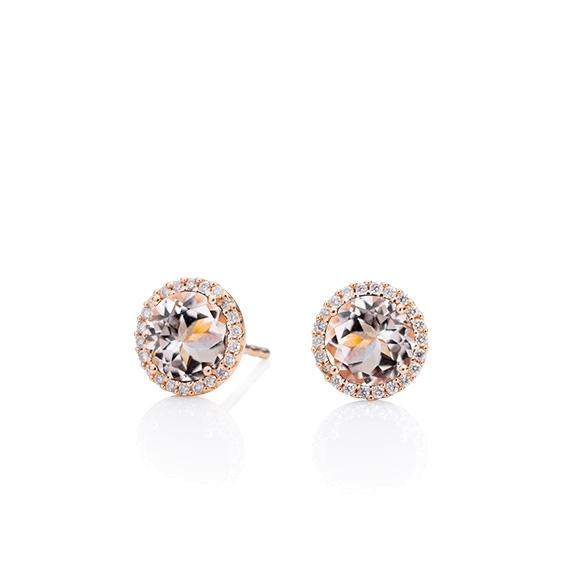 "Ohrstecker ""Espressivo"" 750RG, Morganit facettiert Ø 6.0 mm ca. 1.70ct, 44 Diamanten Brillant-Schliff 0.12ct TW/si1"