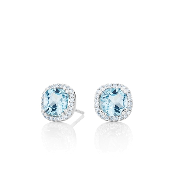 "Ohrstecker ""Espressivo"" 750WG, Topas sky blue antik 6.0 x 6.0 mm ca. ???ct, 48 Diamanten Brillant-Schliff 0.14ct TW/si"