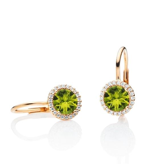 "Ohrhänger ""Espressivo"" 750RG, Peridot facettiert Ø 6.0 mm, 44 Diamanten Brillant-Schliff 0.12ct TW/si"