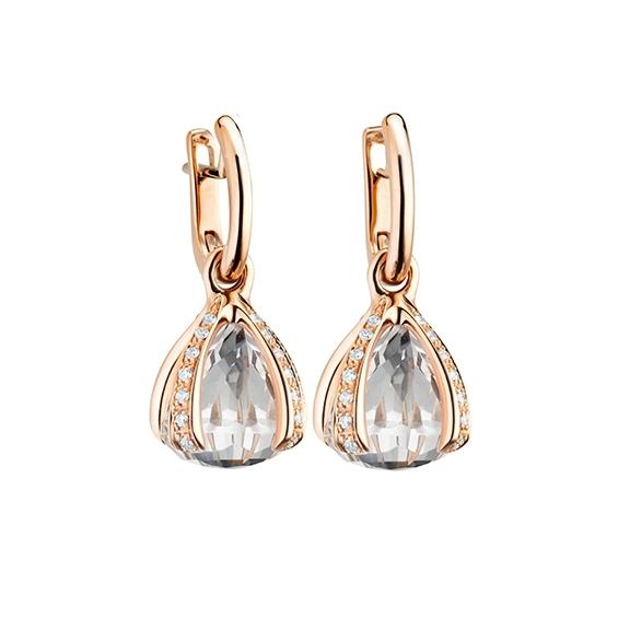 """Ohrcreolen """"Capriccio"""" 750RG, Bergkristall ca. 11.00ct, 28 Diamanten Brillant-Schliff 0.44ct TW/vs"""