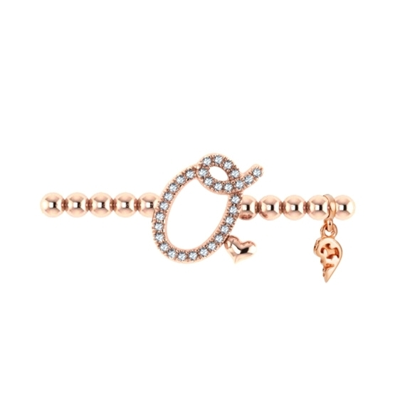 "Armband ""Poesia"" 750RG, Buchstabe ""O"", 30 Diamanten Brillant-Schliff 0.11ct TW/vs1, Innenumfang 17.0 cm"