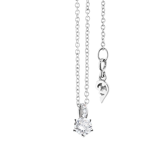 "Collier ""Diamante in Amore"" 750WG 6-er Krappe, Brillantschlaufe, 1 Diamant Brillant-Schliff 0.20ct TW/vs1, 5 Diamanten Brillant-Schliff 0.01ct TW/vs1, Länge 45.0 cm, Zwischenöse bei 42.0 cm"