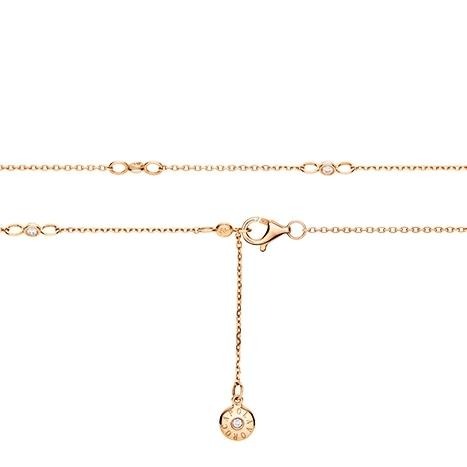 Collierkette Anker rund diamantiert 750RG 1-reihig , 8 Diamanten Brillant-Schliff 0.13ct TW/vs, Länge 45.0 cm