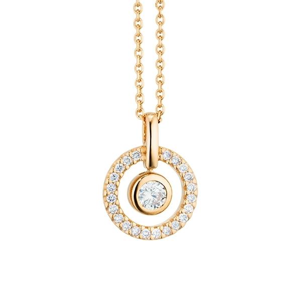 "Collier ""Glam Motion"" 750GG, 1 Diamant Brillant-Schliff 0.15ct TW/si, 22 Diamanten Brillant-Schliff 0.13ct TW/si, Länge 45.0 cm"