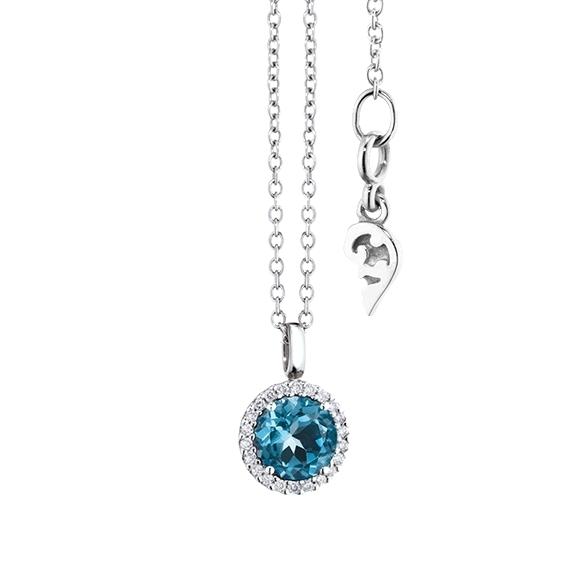 "Anhänger ""Espressivo"" 750WG, Topas London blue facettiert Ø 6.0 mm, 22 Diamanten Brillant-Schliff 0.06ct F/si1"