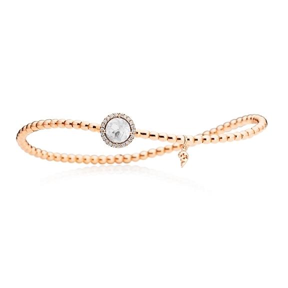 "Armband ""Espressivo"" 750RG, Bergkristall facettiert Ø 6.0 mm, 22 Diamanten Brillant-Schliff 0.06ct TW/si, Innenumfang 17.0 cm"