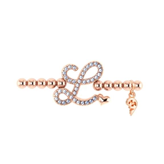 "Armband ""Poesia"" 750RG, Buchstabe ""L"", 39 Diamanten Brillant-Schliff 0.16ct TW/vs1, Innenumfang 17.0 cm"