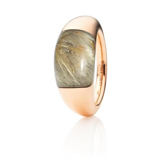 "Ring ""Serenade"" 750RG, Rutilquarz Cabochon 15.0 x 9.0 mm ca. 8.00ct"