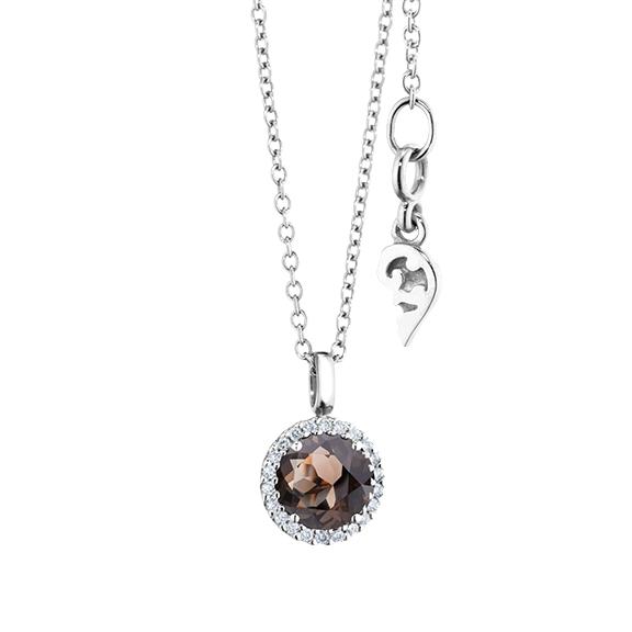 """Anhänger """"Espressivo"""" 750WG, Rauchquarz facettiert Ø 6.0 mm, 22 Diamanten Brillant-Schliff 0.06ct TW/si"""