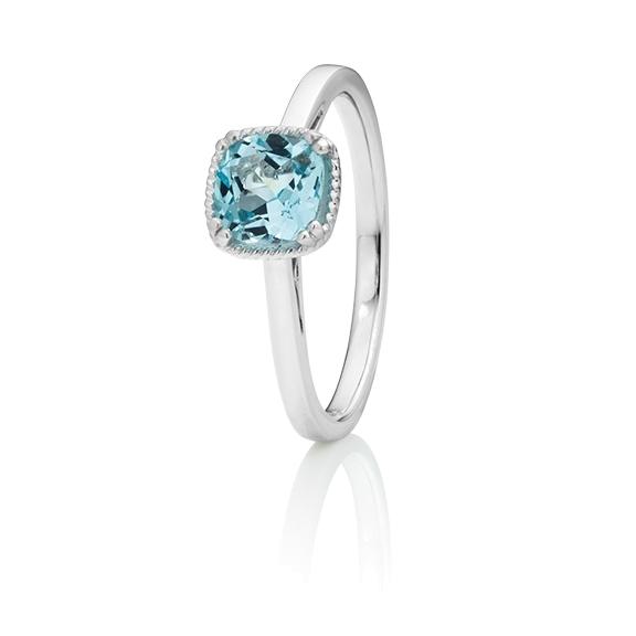 "Ring ""Amore mio"" 750WG, Topas sky blue antik 6.0 x 6.0 mm ca. 1.20ct"