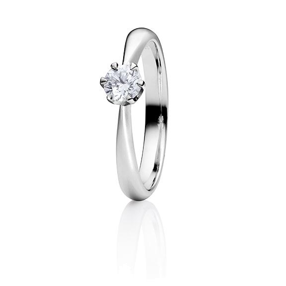 "Ring ""Classico"" 950 Platin 6-er Krappe, 1 Diamant Brillant-Schliff 0.40ct TW/si GIA Zertifikat"