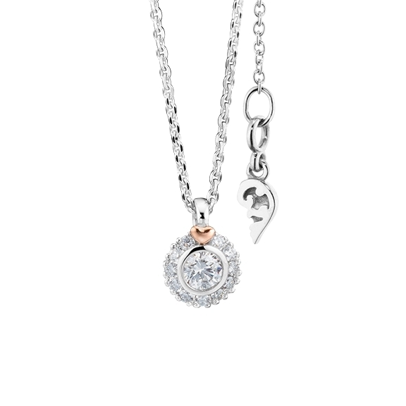 "Collier ""My Love"" 750WG mit RG-Herz, 1 Diamant Brillant-Schliff 0.15ct TW/vs1, 11 Diamanten Brillant-Schliff 0.08ct TW/vs1, Länge 45.0 cm"