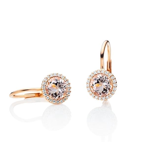 """Ohrhänger """"Espressivo"""" 750RG, Morganit facettiert Ø 6.0 mm, 44 Diamanten Brillant-Schliff 0.16ct TW/si"""