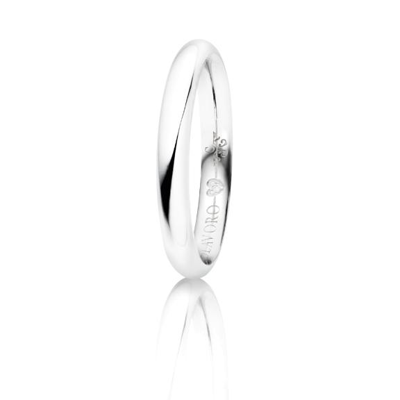 """Trauring """"Diamante in Amore"""" 750WG halbrund und innen bombiert, 1 Diamant Brillant-Schliff 0.005ct TW/vs"""