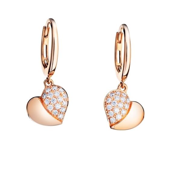 """Ohrhänger """"Fiori e Cuori"""" 750RG, 32 Diamanten Brillant-Schliff 0.35ct TW/vs"""