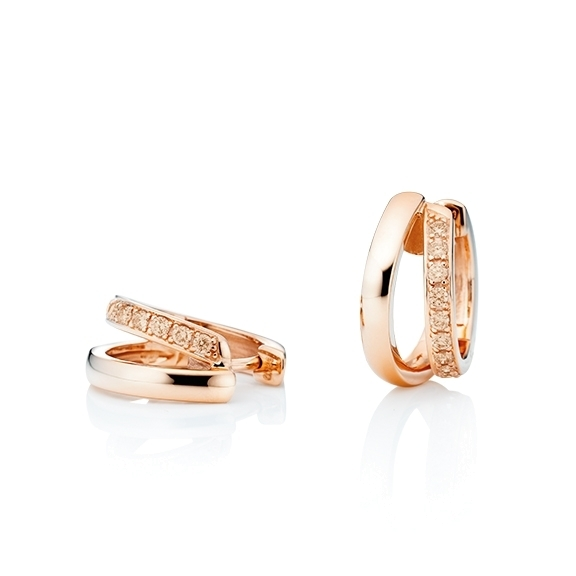 "Ohrcreolen ""La Donna"" 750RG, 22 Diamanten Brillant-Schliff 0.33ct light brown"