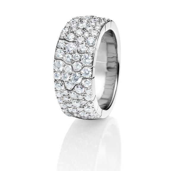 "Ring ""Vulcano"" 750WG, 70 Diamanten Brillant-Schliff 1.80ct TW/vs"