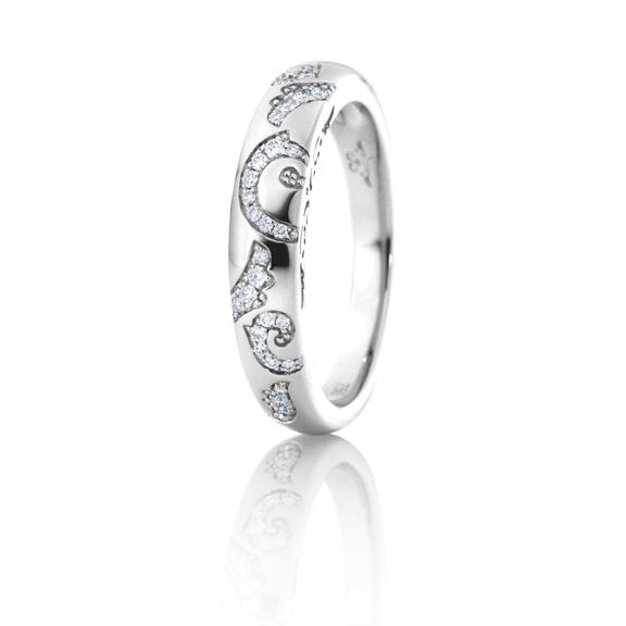 """Ring """"Sérail"""" 750WG, 36 Diamanten Brillant-Schliff 0.14ct TW/vs"""