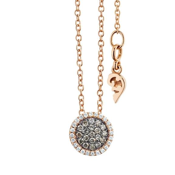 """Collier """"Dolcini"""" 750RG, 24 Diamanten Brillant-Schliff 0.08ct TW/vs, 19 Diamanten Brillant-Schliff 0.15ct natural light brown, Länge 45.0 cm"""