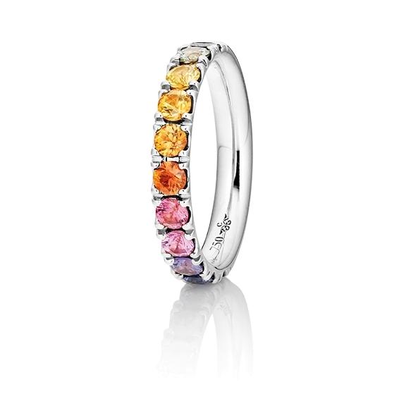 """Ring """"Rainbow"""" 750WG, 11 Saphire bunt ca. 1.50ct TW/vs1, 1 Diamant Brillant-Schliff 0.005ct TW/vs1"""