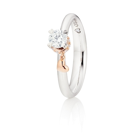 """Ring """"My Little Heart"""" 750WG 4-er Krappe mit seitl. RG-Herz, 1 Diamant Brillant-Schliff 0.30ct TW/si1 GIA Zertifikat, 10 Diamanten Brillant-Schliff 0.06ct TW/vs1, 1 Diamant Brillant-Schliff 0.005ct TW/vs1"""