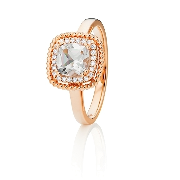 "Ring ""Amore mio"" 750RG, Bergkristall antik 6.0 x 6.0 mm ca. 0.75ct, 24 Diamanten Brillant-Schliff 0.10ct TW/si"