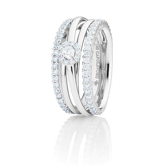 """Ring """"Magnifico"""" 750WG, 1 Diamant Brillant-Schliff 0.10ct TW/si, 68 Diamanten Brillant-Schliff 0.91ct TW/si"""