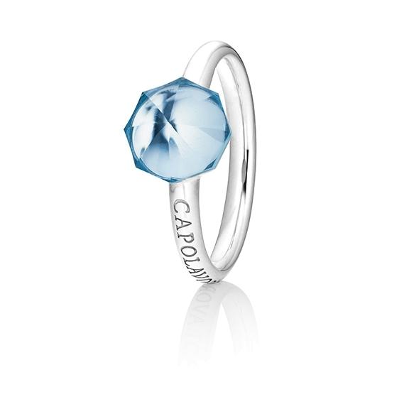 "Ring ""My Sunshine"" 750WG, Topas sky blue Cabochon facettiert  8.90 x 8.90mm ca. 5.50ct, 1 Diamant Brillant-Schliff 0.004ct TW/vs1"