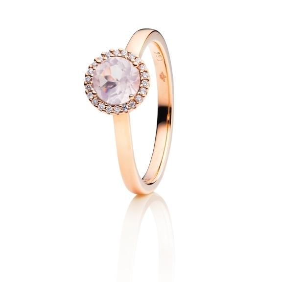 """Ring """"Espressivo"""" 750RG, Rosenquarz facettiert Ø 6.0 mm ca. 0.70ct, 22 Diamanten Brillant-Schliff 0.06ct TW/si1"""