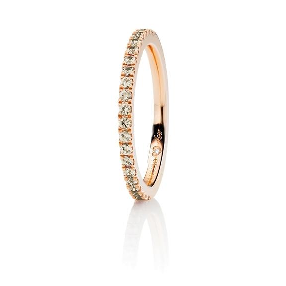 "Memoirering ""Diamante in Amore"" 750RG, 21 Diamanten Brillant-Schliff 0.27ct brown, 1 Diamant Brillant-Schliff 0.005ct TW/vs1"