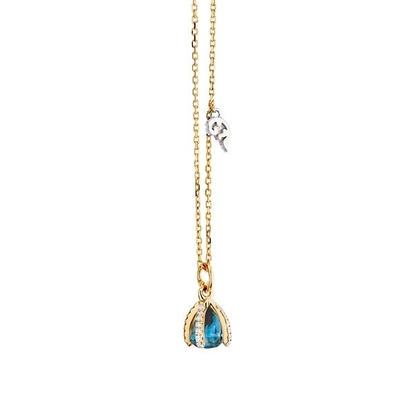 "Collier ""Capriccio "" 750GG, Topas London blue facettiert Ø 5.8 mm, 29 Diamanten Brillant-Schliff 0.15ct TW/vs1"