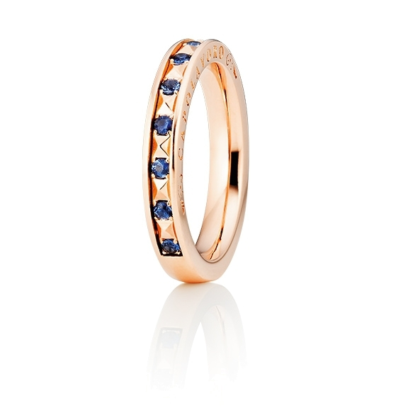 "Ring ""Manhattan"" 750RG, 10 Saphire blau facettiert ca. 0.26ct"